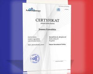 Certyfikat w języku francuskim